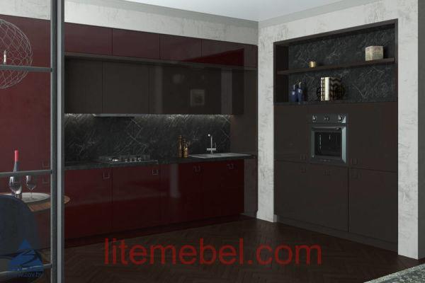 Кухня с фасадами Акрил Трюфель / Краска RAL3005 глянец