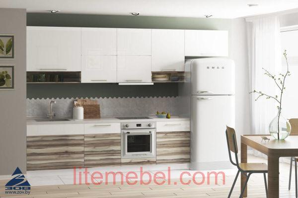 Кухня с фасадами Акрил Сахар / ЛДСП Самшит