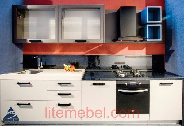 Кухня с фасадами Акрил Alvic Георгин / массив Ясеня Т 509 / 121