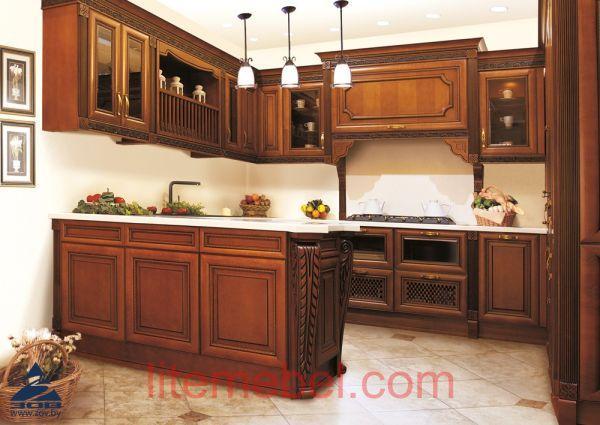 Кухня с фасадами массив Ольхи Т 314К / 113