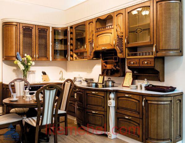 Кухня с фасадами массив Ясеня Т 512 / 111