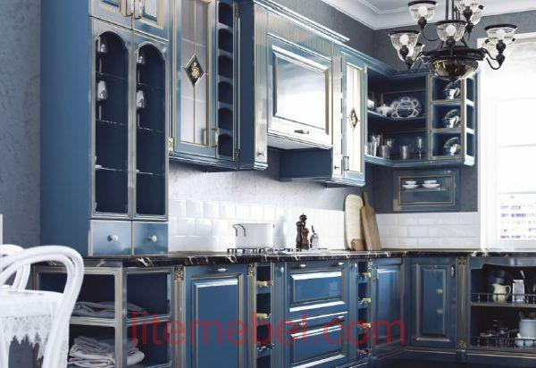 Кухня с крашенными фасадами Профиль 83 RAL 5010