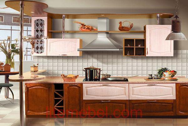 Кухня с фасадами массив Сосны 4/5 тип 04