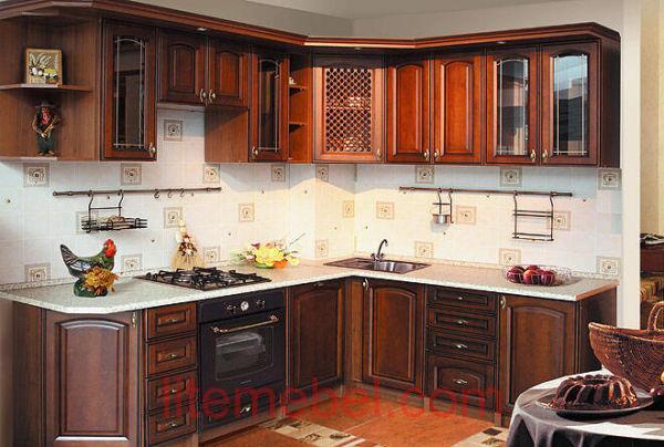 Кухня с фасадами массив Ольха 05 тип 07