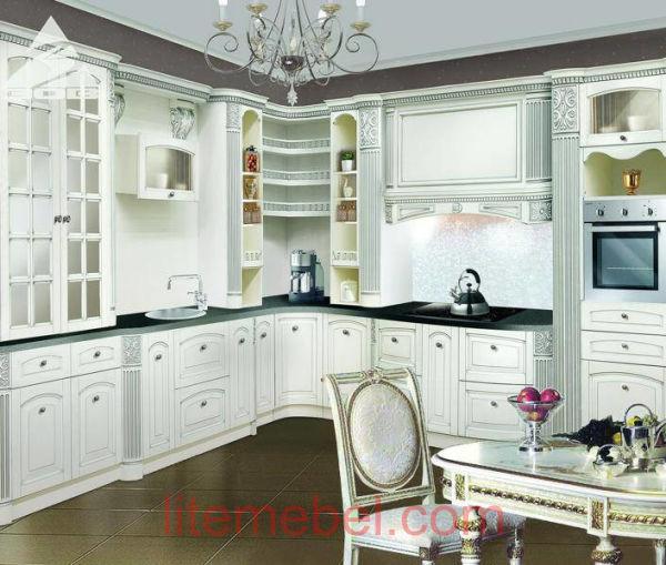 Кухня с фасадами массив Ясеня Т 512 / 118