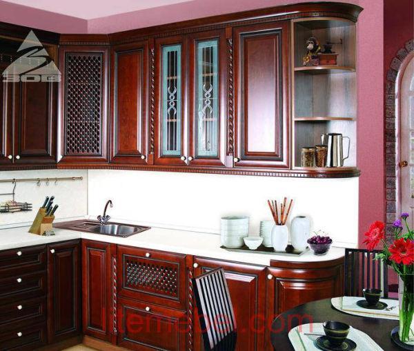 Кухня с фасадами массив Черешни 06 тип 08