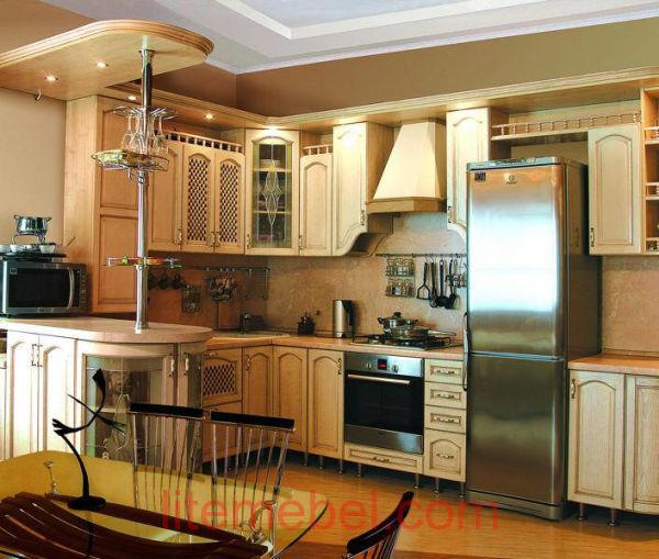 Кухня с фасадами массив Дуб 07 тип 01