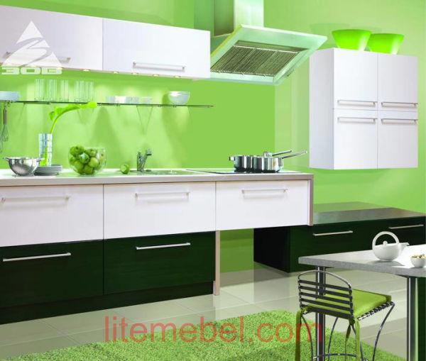 Кухня с крашенными фасадами Система матовая RAL6005 / RAL9003