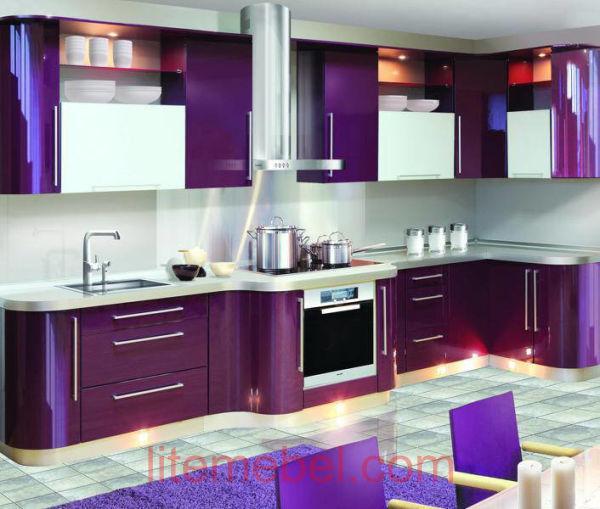 Кухня с крашенными фасадами Система глянец RAL4007 / RAL9003