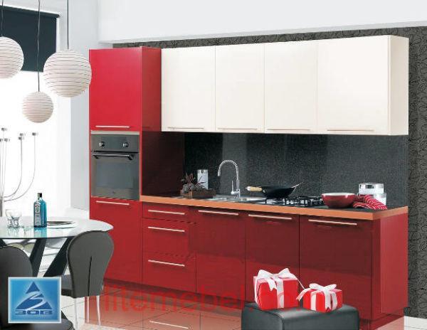 Кухня с фасадами пластик Красный монохром/Ваниль