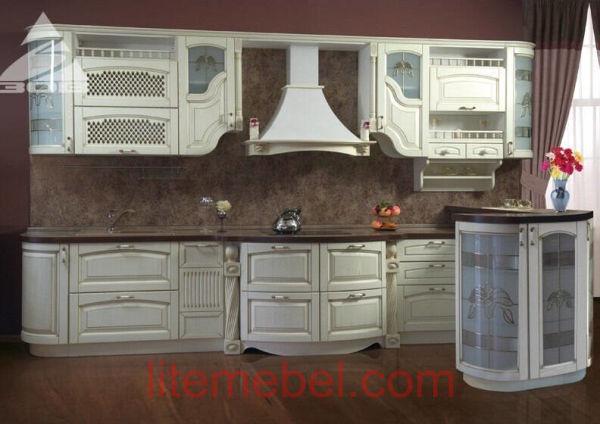 Кухня с фасадами массив Ясеня Т 508 / 110