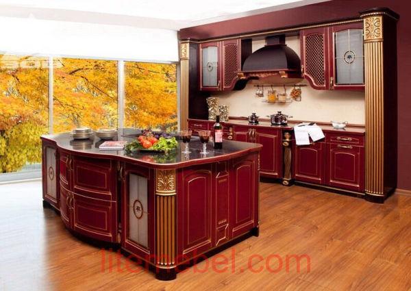 Кухня с фасадами массив Ясеня Т 508 / 116