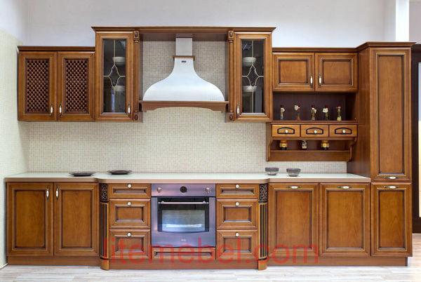 Кухня с фасадом Массив Черешни, Проект № 4191