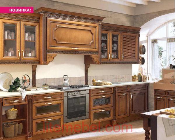 Кухня с фасадами массив из Ольха Т 314К / 113