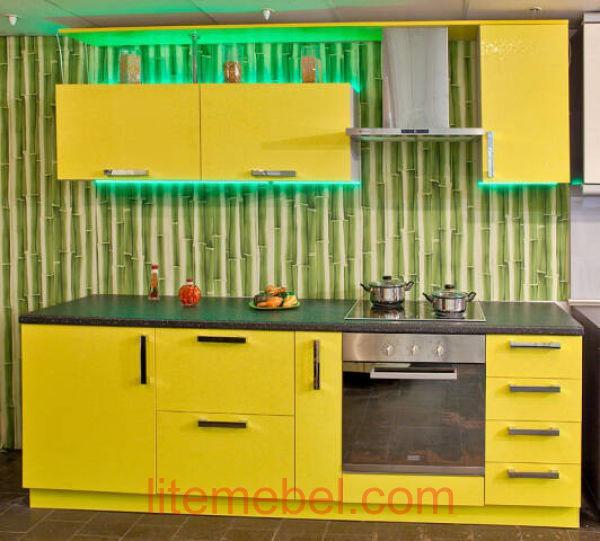 Кухня с фасадами Пластик Жёлтые цветы