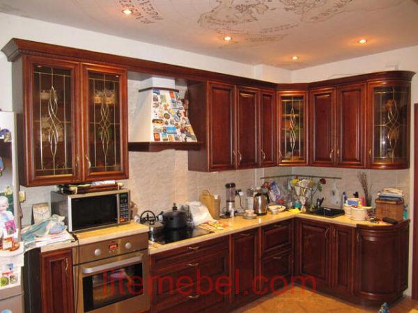 Кухня с фасадом Массив Черешни, Проект № 4164