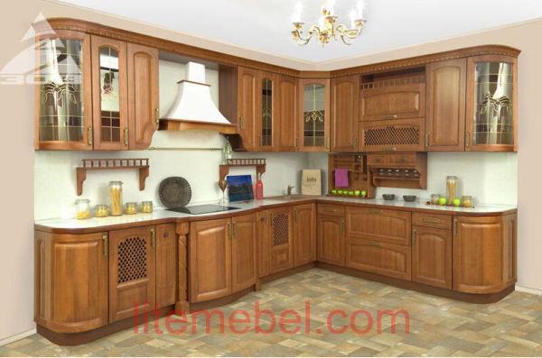 Кухня с фасадами массив Ясеня Т 511 / 113