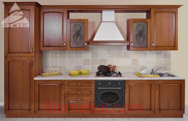Кухня с фасадами массив Дуб 06 тип 01