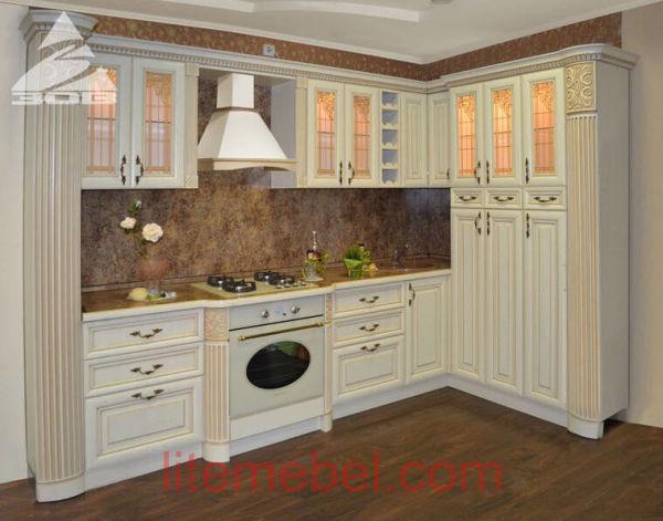 Кухня с фасадами массив Ясеня Т 514К / 110