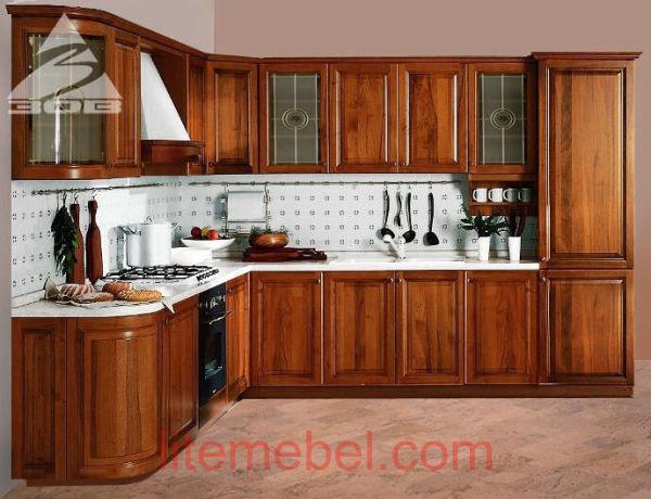Кухня с фасадами массив Ольха 02 тип 02