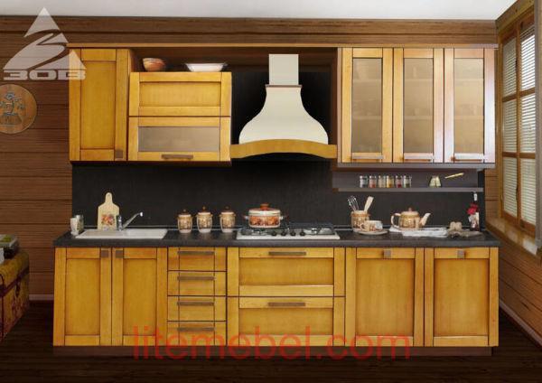Кухня с фасадами массив Ольха Т 301 / 132
