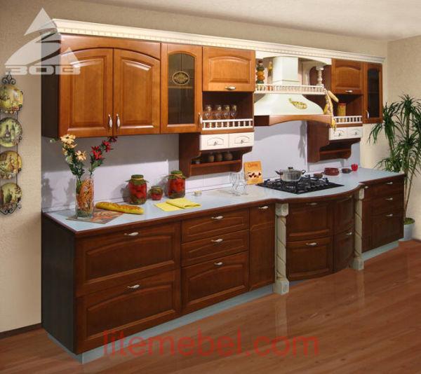 Кухня с фасадами массив Ольхи Т 307 / 127
