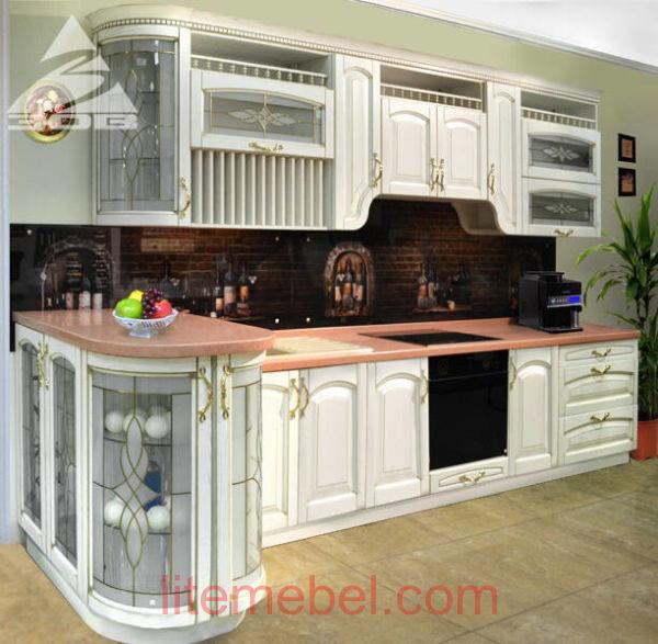 Кухня с фасадами массив Ясеня Т 512 / 101
