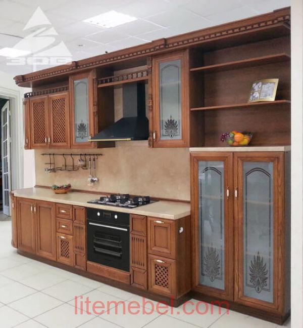Кухня с фасадами массив Ясеня Т 516 / 109