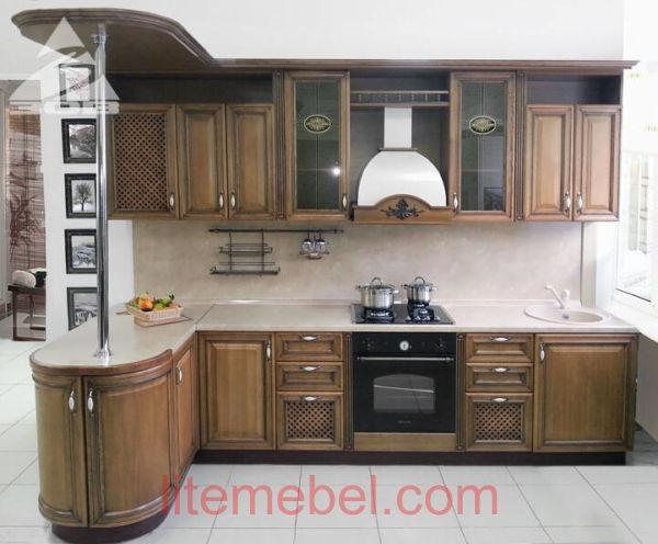 Кухня с фасадами массив Дуб 09 тип 11