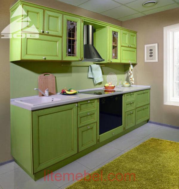 Кухня с фасадами массив Ясеня Т 520 / 117