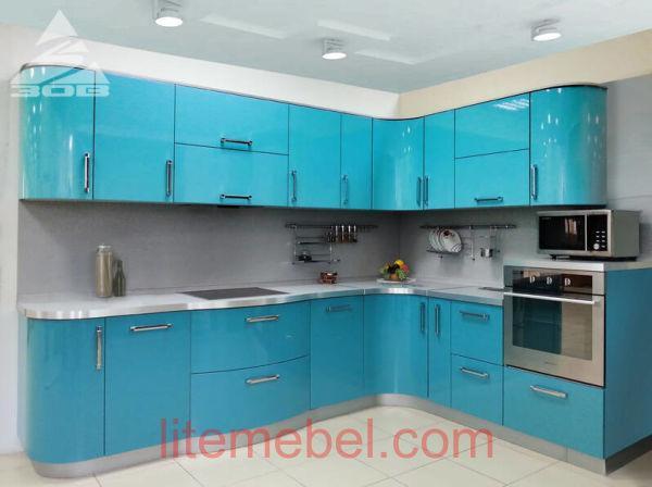 Кухня с крашенными фасадами Система глянец RAL5018