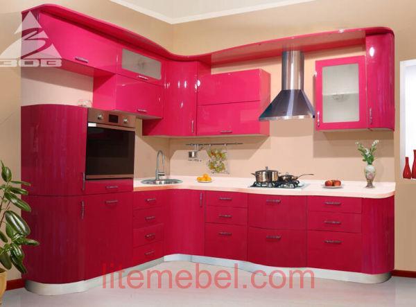Кухня с крашенными фасадами Система глянец RAL4010