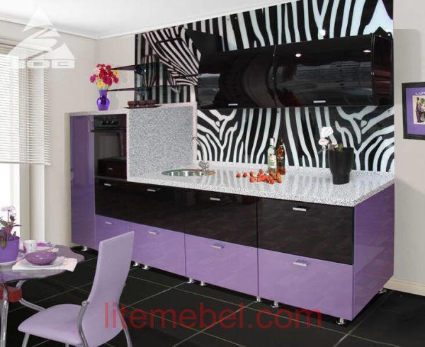 Кухня с крашенными фасадами Система глянец RAL4001 / RAL9017