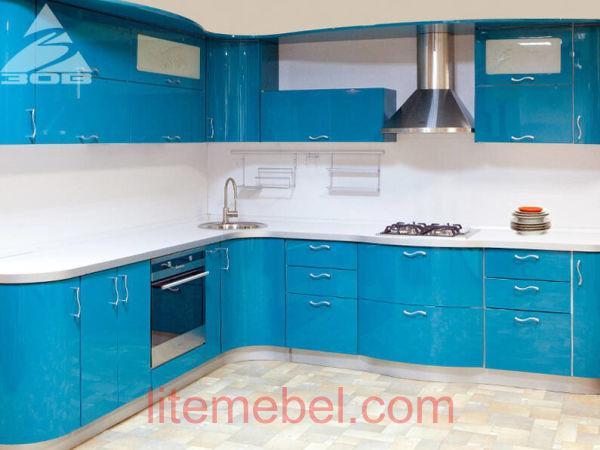 Кухня с крашенными фасадами Система глянец RAL5012