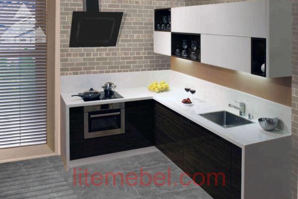 Кухня с фасадами Акрил Белый / Зебрано темный