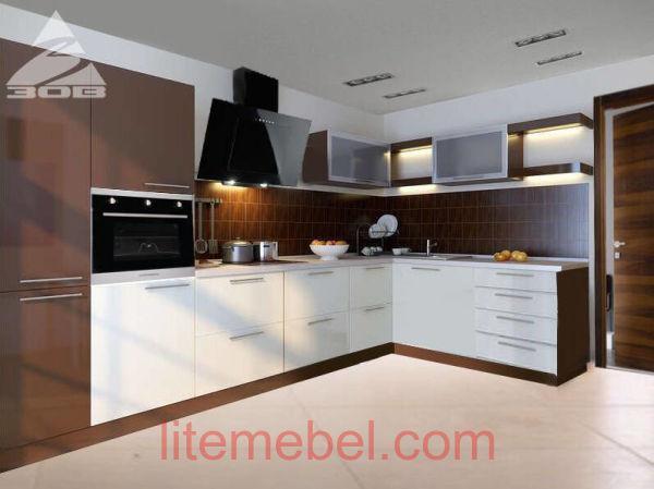 Кухня с фасадами Акрил Сахар /Трюфель