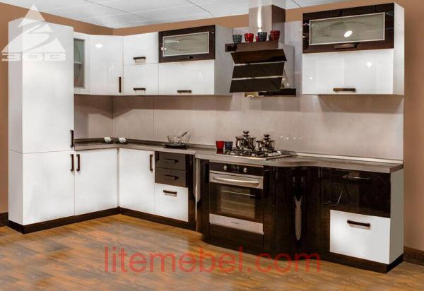 Кухня с фасадами Акрил Сахар /Уголь металлик