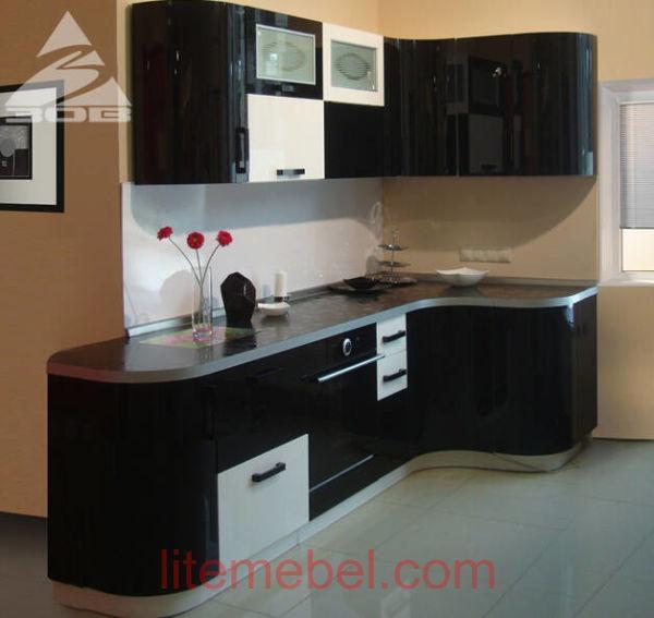 Кухня с фасадами Акрил Сахар / Уголь металлик