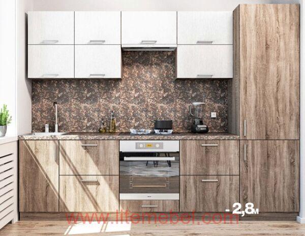 Кухня с пластиковыми фасадами, Проект № 3453