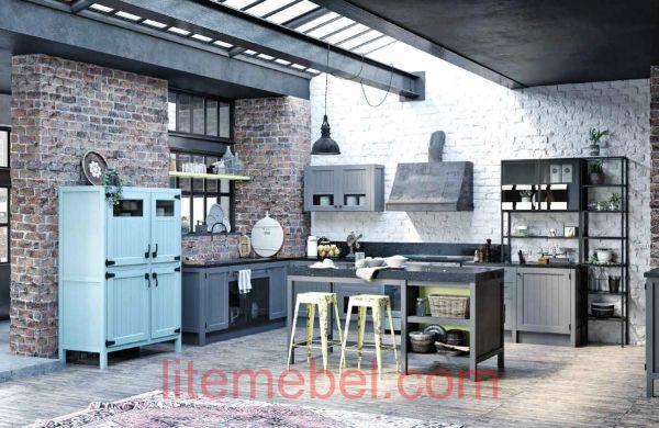 """Кухня с фасадами массив Ясеня """"Лофт Легно"""""""