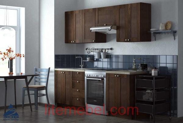 Кухня с фасадами массив Ясеня Т 501 / 113