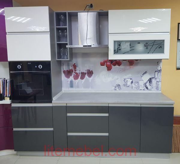 Кухня с фасадами Акрил, Проект № 1336