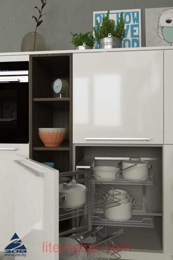 Кухня с фасадами Пластик Снежный / ЛДСП Пихта