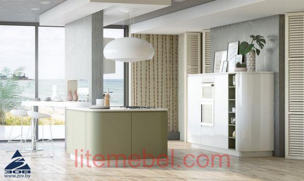 Кухня с карашенными фасадами Система КВ NCS S3005-G50Y / RAL9003