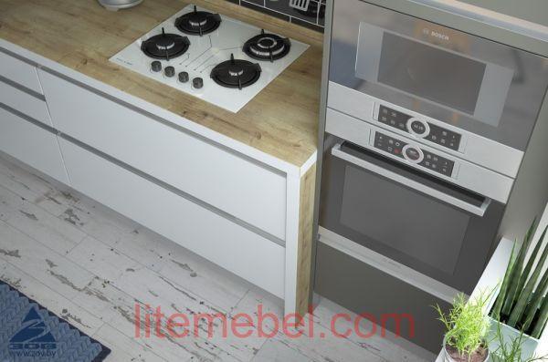Кухня с фасадами Акрил Сахар / Пепел