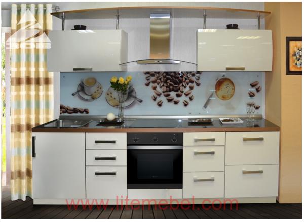 Кухня с фасадами Акрил, Проект №1210