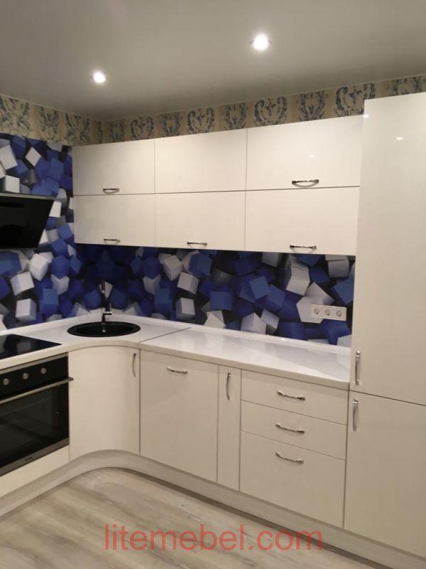 Кухня с фасадами Акрил, Проект № 1691