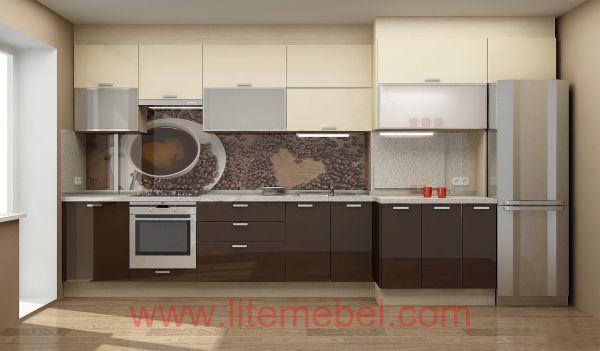 Кухня с пластиковыми фасадами, Проект № 3082