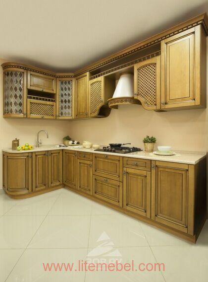 Кухня с фасадами массив Ольха, Проект №4126