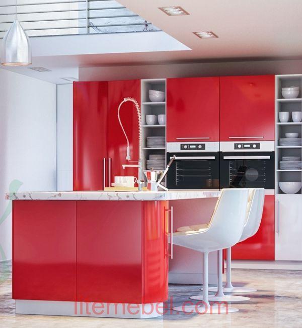 Кухня с карашенными фасадами Профиль 60, Ral3024 глянец